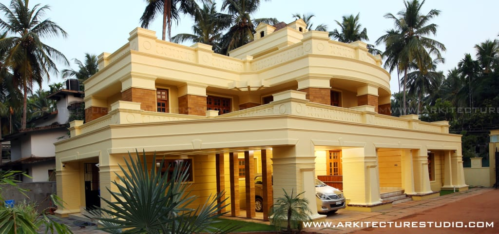 Colonial style luxury indian home design houses by for Mobel kolonial style