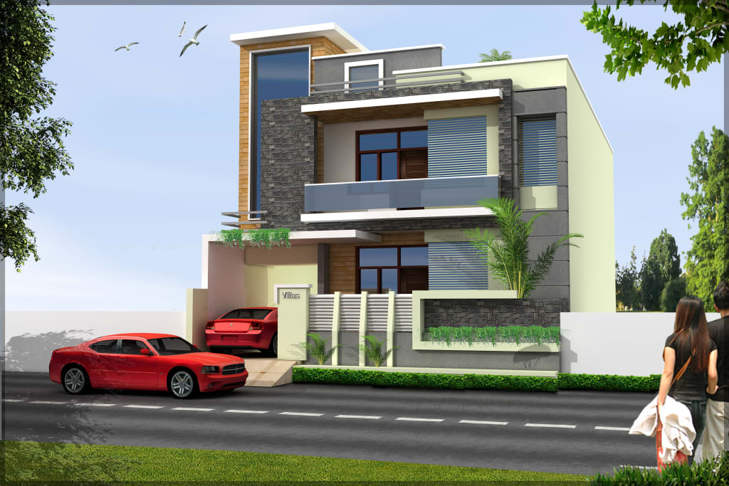 Residence Front Elevation Modern Houses By Shitiz