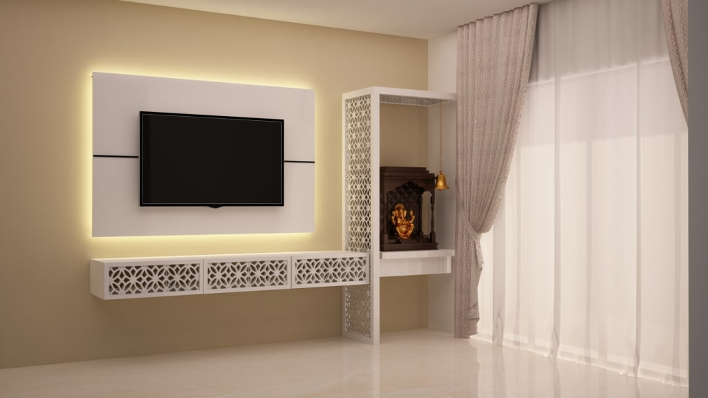 Tv And Puja Unit Living Room By Nvt Quality Build