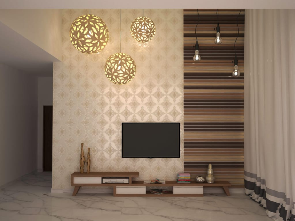 Home Theater Unit And Wall Style Living Room By Nvt
