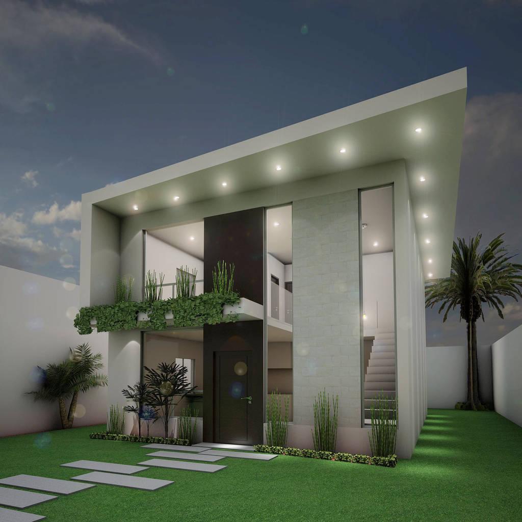 Fachada principal casas de estilo moderno por osuna for Casa de arquitecto moderno